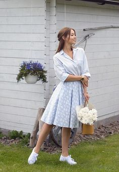 Get this look: http://lb.nu/look/8323669  More looks by Elena  Klimashevskaya: http://lb.nu/elenaklimashevskaya  Items in this look:  Zara Blue Shirt, Mohito Light Blue Skirt, New Yorker  White Sneakers, Michael Kors Saffiano Tote   #elegant #retro #romantic