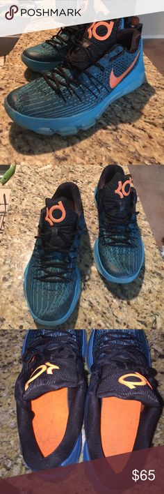 "NIKE KD 8 NIKE KD 8 ""OPENING NIGHT"" Color: Blue Lagoon/Bright Citrus-Black-Tide Pool Blue Style Code: 749375-480 Release Date: 10/24/15  I've had these for a while in my closet. Size 11.5. Got them as a gift and I usually wear a 12 in Nike. Wore them only a few times. Nike Shoes Athletic Shoes"