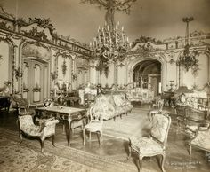 Grand Salon, Cornelius Vanderbilt II house, 1894, at Fifth Avenue and 57th Street. Salon designed by Jules Allard et Fils.