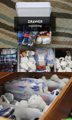Organize drawers using plastic shoe boxes! via Sophistishe.com
