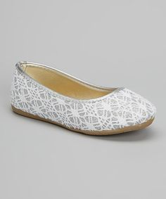 Another great find on #zulily! Silver Crochet Glitter Flat by Ositos Shoes #zulilyfinds