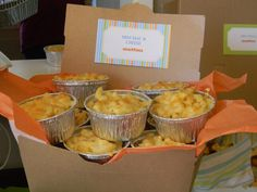 Mini Mac & Cheese - adorable party food idea, all you need are foil baking cups and your chef hat!