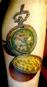antique retro vintage timepiece pocket watch tattoo by Todo of McDonough, GA