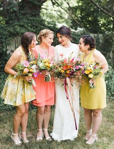 Yellow and peach bridesmaids dresses