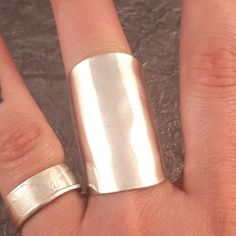 Silver Shield Spoon Ring. These rings are made from vintage silver plate or sterling silver spoon bowls. These rings are made with miscellaneous spoon bowls, so they will vary slightly from the photo.