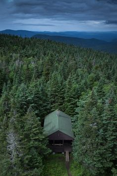 My idea of peace and quiet is this cabin in the forest.