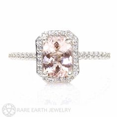 Morganite Engagement Ring Platinum Diamond Halo Cushion Morganite Ring by RareEarth on Etsy https://www.etsy.com/listing/180793510/morganite-engagement-ring-platinum