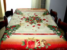 Gold Snowy Table Cloth, Christmas Tree TableCloth, Christmas Tablecloth, Rustic Table Cloth, Modern Tablecloth, Gift For Christmas Days.