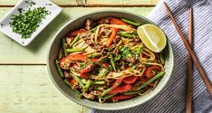 We love good Beef Noodles with Green Beans & Pepper and this deliciously simple, chef-curated recipe doesn't disappoint. Time to bust out the pots and pans! Ginger Beef, Fresh Ginger, Egg Preparations, Hello Fresh Recipes, Beef Stir Fry, Beef And Noodles, Beef Recipes, Green Beans, Stew