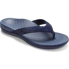 Vionic Women's Tide Rhinestones Sandals ($68) ❤ liked on Polyvore featuring shoes, sandals, navy, sparkly sandals, grip shoes, vionic, patterned shoes and vionic shoes