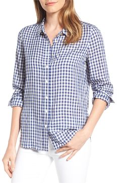 New Draper James Elliot Gingham Shirt BLACK online, Shop the latest collection of Draper James Elliot Gingham Shirt BLACK from the most popular White Plaid, Navy And White, Chicwish Skirt, Navy Blue Shirts, Draper James, Gingham Shirt, Spring Tops, Gingham Check, Collar Top