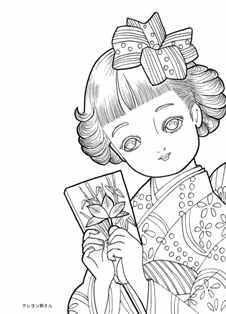 羽子板を持つ女の子の塗り絵の下絵画像 Pdf Print On Website Coloring