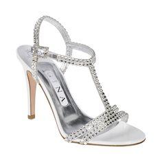 An elegant GINA t bar sandal in crisp white patent leather detailing Swarovski 'Crystal' diamante on a 100mm stiletto heel.