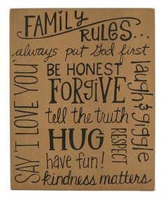 Look what I found on #zulily! 'Family Rules' Block Sign #zulilyfinds