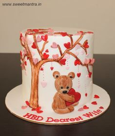Love, Valentine theme cake with cute teddy under tree of hearts