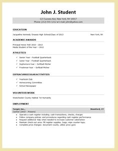 High School Resume For College Application Template Examples