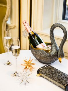Cheers, from #Swarovski - Toast the New Year in style with crystal flutes available at Bergdorf Goodman