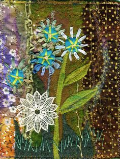"""""""Very Small Garden"""" art quilt, 5 1/2 X 7 inches 