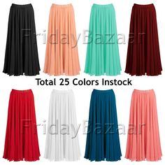 Women Lady Pleated Chiffon Retro Long Skirt Full Circle Skirt S~3XL | 25 Colors #Unbranded #Maxi