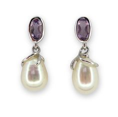 Sterling silver 925, 6.0-6.5mm freshwater Pearl with Amethyst Dangling Earring