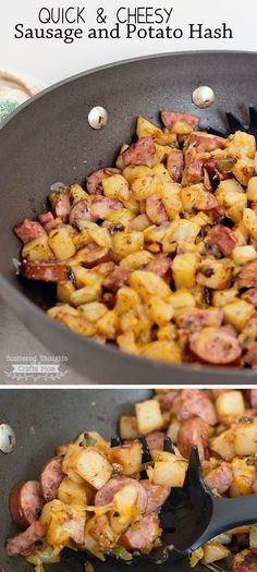 Cheesy Sausage and Potato Hash (Bonus: leftovers are fabulous with eggs the next morning! Think Food, I Love Food, Good Food, Yummy Food, Easy Skillet Meals, Quick Meals, Quick Cheap Dinners, Easy Cheap Dinner Recipes, Pork Recipes