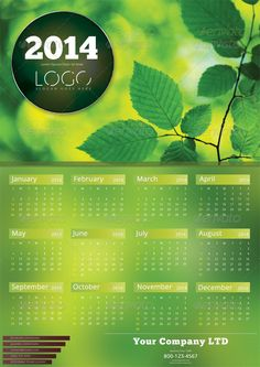 2014 Celendar Template 2014 Professional and clean Calendar template. Fully layered and very easy to customize. Designed with adob