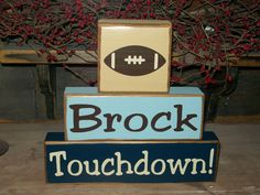 New Boys Primitive Personalized Football Sports Themed Wood Sign Blocks Nursery Room Decor NFL Distressed Sign. $21.99, via Etsy.