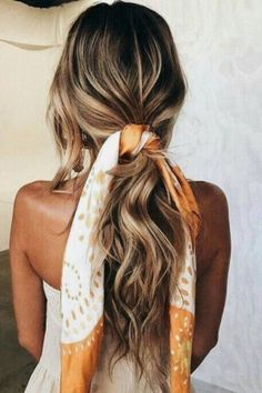 romantic loose ponytail hair scarf summer hairstyles hair styles hair styles hair styles hair styles color blonde cut ideas style for women style ideas styles for men styles for women for school femme for round faces hair styles Hair Scarf Styles, Curly Hair Styles, Scarf In Hair, Hair Scarfs, Summer Hairstyles, Easy Hairstyles, Hairstyle Ideas, Hairstyles With Scarves, Stylish Hairstyles