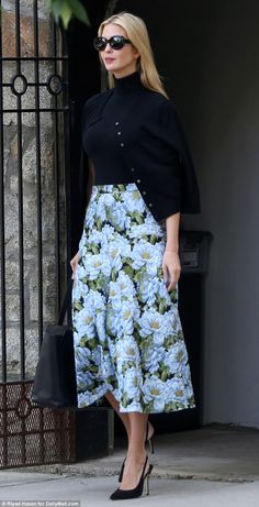 Pattern: Ivanka Trump cut a classic silhouette on Thursday as she headed out to work, dressed in a long floral skirt