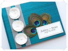 Peacock Wedding Guest Book (made to order). $49.00, via Etsy.