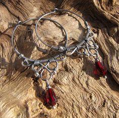 Czech glass red filigree earrings~handmade wire wrapped sterling silver hoops by ErikaLyn~GRJ , via Flickr