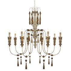 Vintage French Gilded Chandelier - Wrought Iron