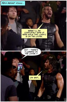 He doesn't realize that Seth is talking about him-JJ Because Dean doesn't think he's a lunatic-Adrianna but he is-scar I agree-cait so do I-roman Funny Wrestling, Wrestling Quotes, Wwe Funny, Watch Wrestling, Wrestling Stars, Funny Memes, Roman Reigns Dean Ambrose, Wwe Dean Ambrose, Wwe Pictures