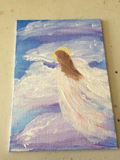 Flying angel painted postcard