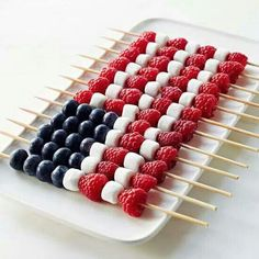 Go Red, White and Blue! Quick and Easy Fruit Kabobs for Your Fourth of July Celebration! See thefrenchinspiredroom.com