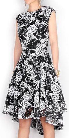 Black & White Asymmetric Macrame Dress