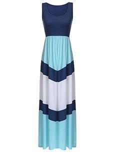 f95b5fc206 Sherosa Women Boho Chevron Striped Print Summer Sleeveless Tank Long Maxi Party  Dress (S