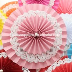 Manufacturer of Paper Fan Double Layers Decorations Pinwheel for Wedding Diy Party Decorations, Paper Decorations, Birthday Decorations, Giant Paper Flowers, Diy Flowers, Doilies Crafts, Diy And Crafts, Paper Crafts, Paper Fans