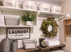 Love this inspired laundry room because, well, we all have laundry to do, right? So why not style it to please our decor senses! Thx for including our Canisters in your Farmhouse laundry room decor inspiration Laundry Room Shelves, Laundry Room Remodel, Small Laundry Rooms, Laundry Room Organization, Laundry Storage, Laundry Room Design, Laundry In Bathroom, Storage Shelves, Storage Ideas