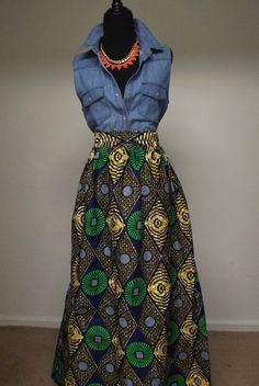 Chic HighWaist African Print Maxi Skirt di DIYANU su Etsy, $54.99