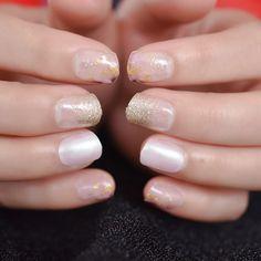 Short Round Pearl Shimmer Glitter Faux Nails – Fake Nail Store Rounded Nails, Nail Store, Nail Length, Salon Services, Nail Set, Short Nails, Nail Tips, Manicure, Glitter