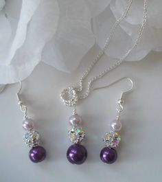 Bridesmaid Wedding Jewelry Set Purple Lavender by Uniquebeadables, $18.99