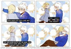 Little Elsa and Jack. See, this is why I can see their relationship as more father and daughter. They don't make sense to me as a romantic couple.