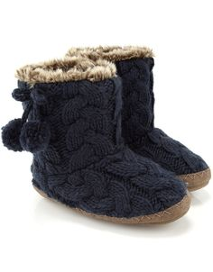 Plain Cable Short Boot | Navy | Accessorize
