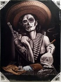 La Vida Loca By David Gonzales Art Canvas Giclee Tattoo Day of the Dead Latina