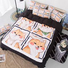 tinaya / Cute Shiba Inu Soft Bedding Set Pets Dog Queen Duvet Cover Sets Adults/Kids Twin King cartoon new Luxury fashion Bedclothes Cute Bedding, Cheap Bedding Sets, Cotton Bedding Sets, Grey Bedding, Luxury Bedding, Comforter Sets, Beach Bedding, Affordable Bedding, Dorm Bedding