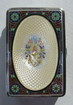 Sterling Silver Enamel Guilloche Cigarette Case.  Click on image for more photos.