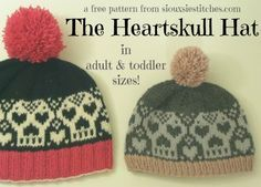 The Heartskull Hat - a free #knitting pattern by SiouxsieStitches.com