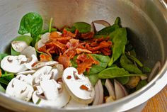Spinach Salad with warm bacon dressing  (I left out the tsp of sugar and it was perfect!)  Paleo / Primal forever