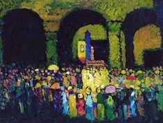 Dans une église, par Wassily KandinskyHuile sur toile 64,5 x 50 cm 1908 Musée Thyssen-Bornemisza, Madrid, Espagne